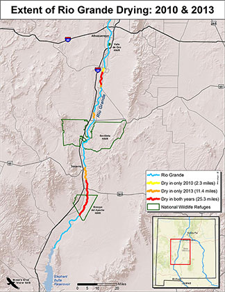 Figure 15. Extent of Rio Grande drying from Albuquerque to Elephant Butte Reservoir in 2010 and 2013.