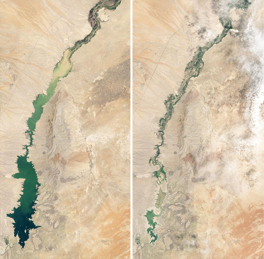 Figures 6 and 7. Elephant Butte Reservoir on June 2, 1994, as compared to July 8, 2013.