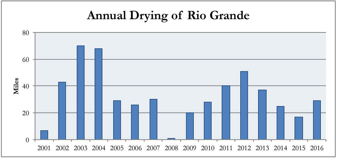 Figure 9. River dying along the Rio Grande in central New Mexico 2001-2016.